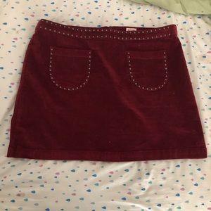 Plus Size Embellished Burgundy Mini Skirt